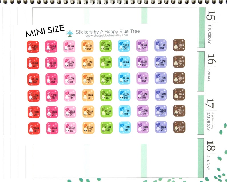 MINI Happy Clean Day Square Tracker Reminder Stickers Erin image 0