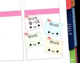 Happy Work Schedule Reminder Tracker Cute Kawaii Planner Stickers for Erin Condren Midori Notebook Calendar Scrapbook Funny Work Job School