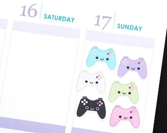 Happy Video Game Controller Tracker Reminder Kawaii Stickers Erin Condren planner Kikkik Midori Funny Mambi Plum Filofax Personal