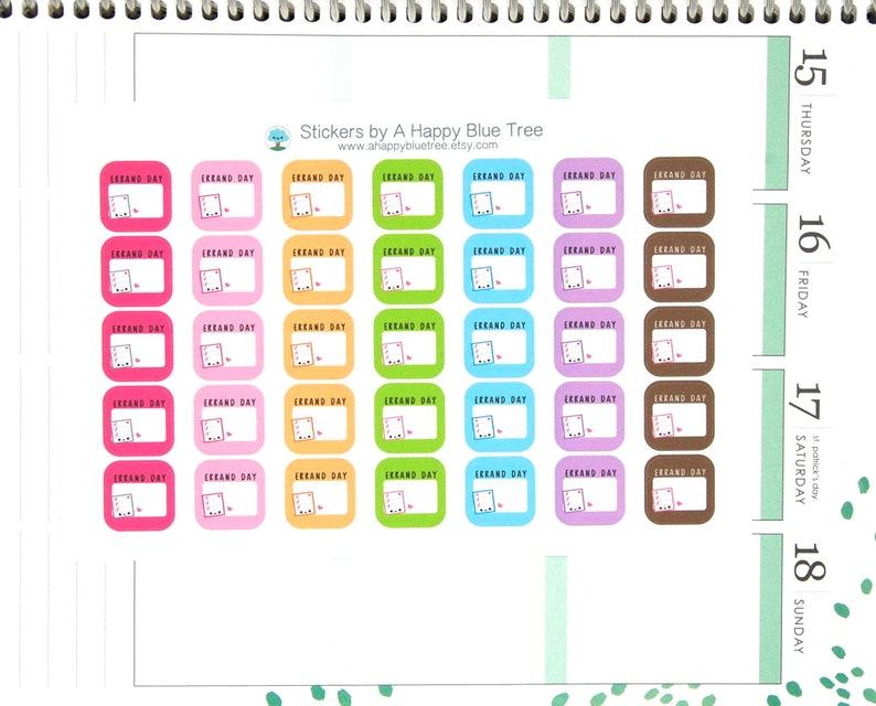 Happy Errand Day Write-in Square Reminder Tracker Cute Kawaii image 0