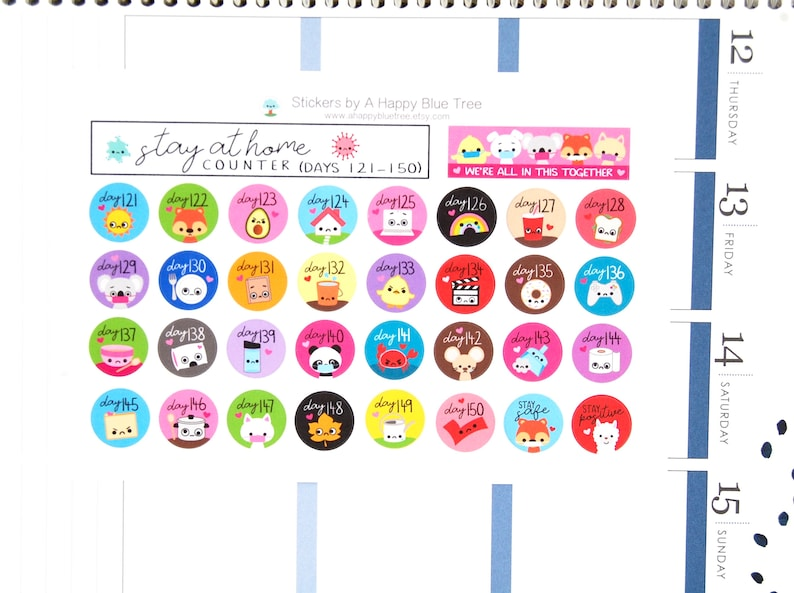 Stay at Home Days 121-150 Counter Tracker Stickers Erin image 0