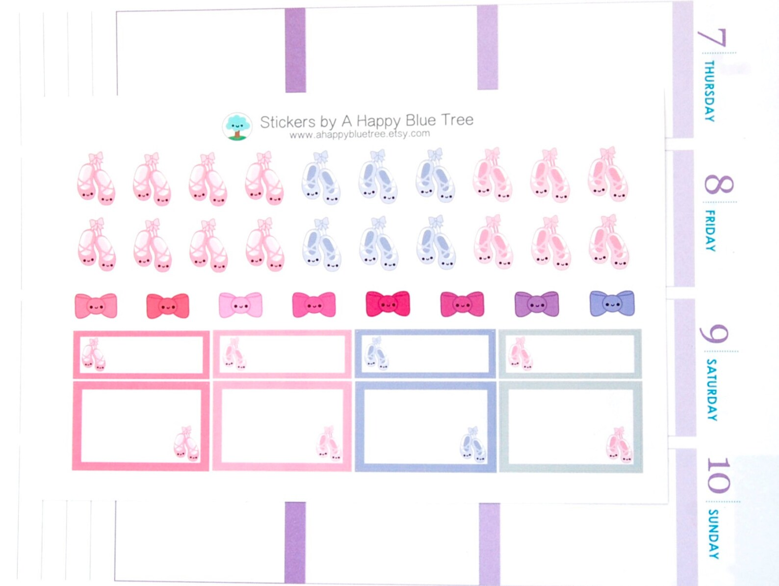 happy ballet dancing shoes bows boxes reminder cute kawaii planner stickers erin condren midori plum dance recital class slipper