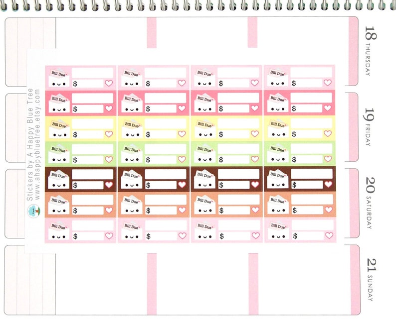 Happy Bill Due DONUT Friends Colors Reminder Label Cute image 0