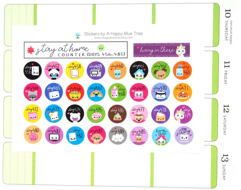 Stay at Home Days 456-485 Counter Tracker Stickers Erin image 0
