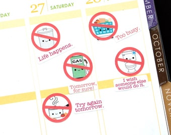 Life Happens Red Cross Out Circles Reminder Kawaii Stickers Erin Condren planner, Midori Notebook Scrapbook Funny Tomorrow Forgot Too Busy