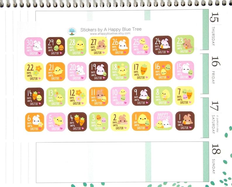 Happy EASTER Countdown Stickers Erin Condren Life Planner ECLP image 0