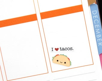 Happy Taco Tuesday Tracker Reminder Kawaii Stickers Erin Condren planner Kikkik Midori Notebook Funny Foodie Truck Bell