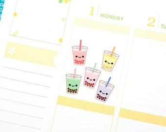 Happy Boba Bubble Tea Cup Tracker Reminder Cute Kawaii Planner Stickers Erin Condren Midori Notebook Calendar Scrapbook Drink Funny Cute