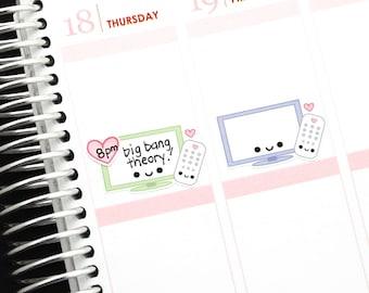 Happy TV Television (Write in) Reminder Kawaii Stickers Erin Condren planner Midori Notebook Personal Kikkik Cute Funny DVR Flat Screen