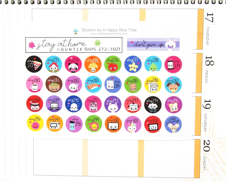 Stay at Home Days 272-302 Counter Tracker Stickers Erin image 0