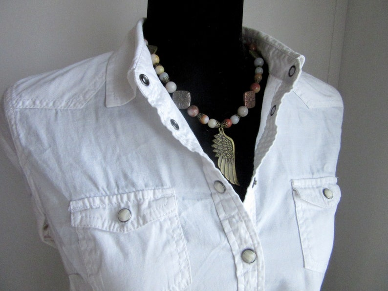 and multi color metal beads Antique gold feather necklace set with gorgeous mixed agate