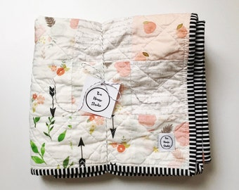 Spring Floral Baby Quilt, Boho Baby Quilt, Modern Baby Quilt, Baby Quilt For Sale, Handmade Baby Quilt, Floral Baby Bedding, Baby Girl Quilt