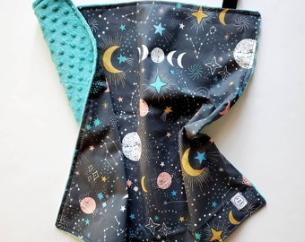 Cosmic Minky Lovey, Space Baby Lovey, Planets and Stars, Celestial Security Blanket, Minky Lovey, Space Nursery