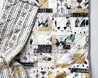 Woodland Monochrome Scrap Baby Quilt, Handmade Baby Quilt, Monochrome Baby Quilt, Boy Baby Quilt, Mountain Baby Quilt, Quilt for Charity