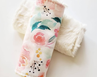 Watercolor Floral Car Seat Strap Covers, Car Seat Straps, Faux Fur, Floral Car Strap Covers, Car Seat Accessories