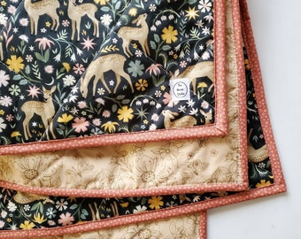 Fawn Wholecloth Baby Quilt, Floral Baby Quilt, Handmade Baby Quilt, Floral Nursery, Deer Crib Bedding, Fawn Nursery, Baby Quilt Girl