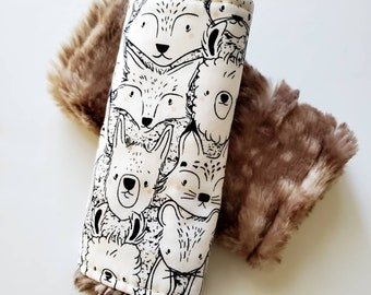 Woodland Creatures Car Seat Strap Covers, Infant Car Seat Strap Cover, Car Seat Accessories, Faux Fur Car Seat Strap Covers, Reversible