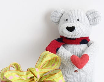 A Handmade Cute Bear Doll. Animal handmade doll. Animal toy. Textile doll, Home Decoration doll, Good Gift For Cool Friends.