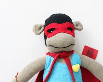 Handmade a Monkey Wrestler doll.Animal toy. Red Cape & Mask, Yellow Heart Brooch, Stuffed Monkey Doll gift for Good kid.