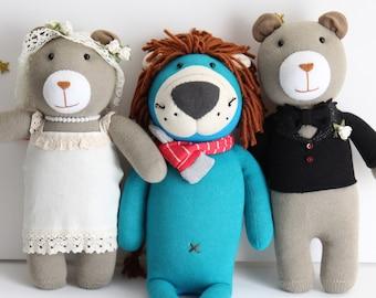 Handmade Bear Groom & Bride Wedding Plush Toy Soft Stuffed Animal Doll, Wedding, Bedroom decoration, Christmas, Birthday, Valentine Gift,