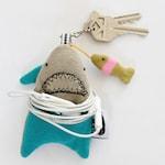 FISH ARE FRIENDS- Shark Soft Knit Earphone Case, Shark Home Decor, Shark Keychain, Shark Pouch plush, Coin Pouch