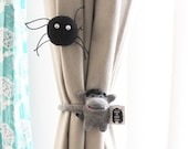 Soft Knit Earbuds organizer, Halloween Monkey Cord organizer, Curtain Tie backs, Halloween Home decor, Monkey Cable ties, Office Accessory