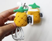 Pineapple Earbuds organizer, Pineapple Halloween Cord organizer, Curtain Tie backs, Pineapple Home decor, Cable ties, Office Accessory