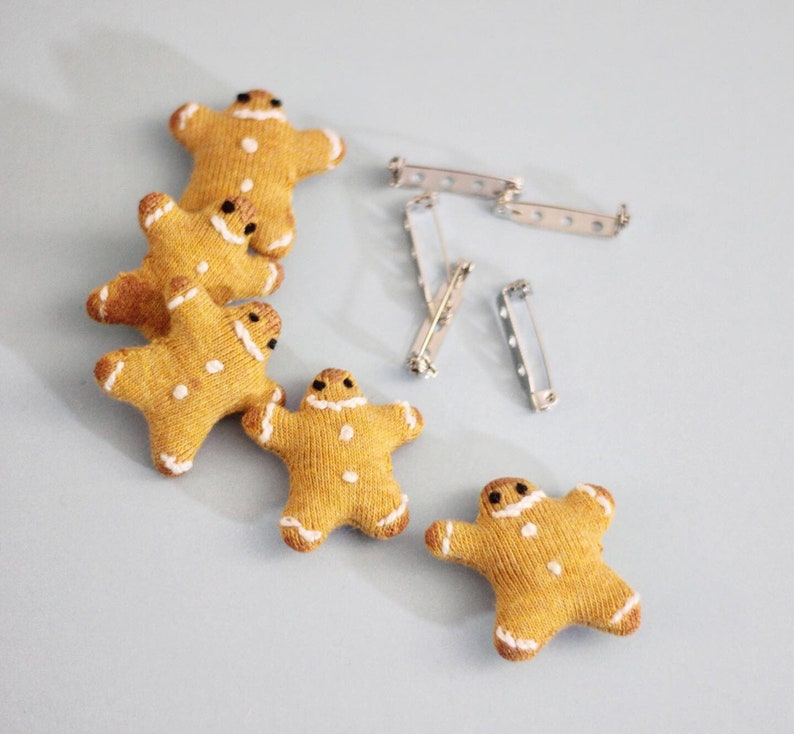 Gingerbread Man Brooch Funny Christmas Gift Xmas Biscuit image 0