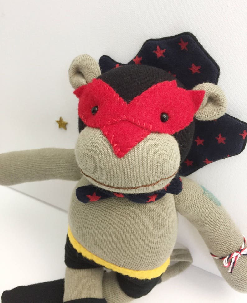 Handmade doll Lucha Libre Monkey Wrestler with Navy Star image 0