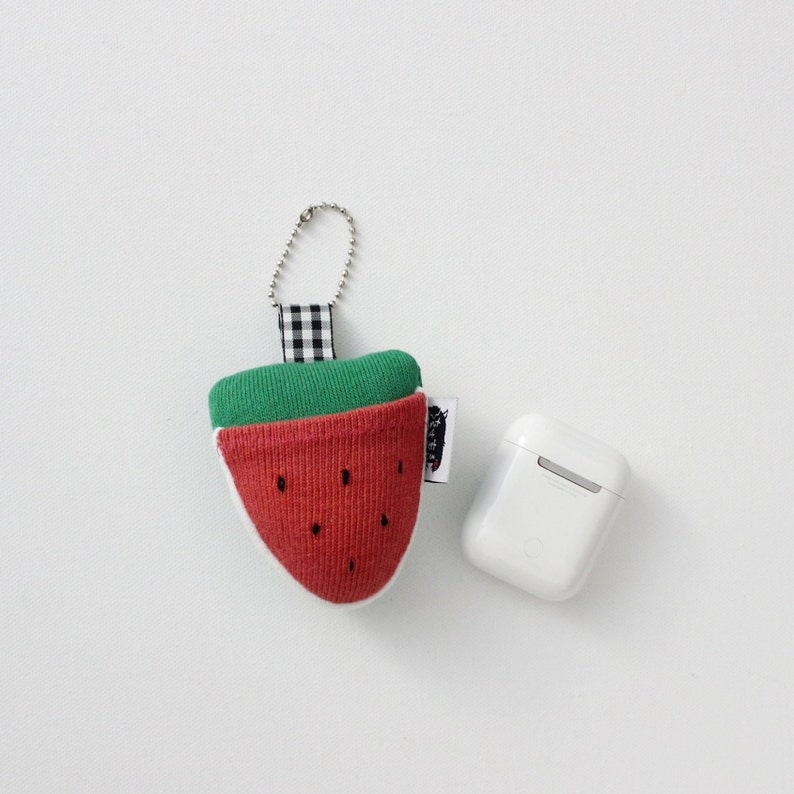Soft Knit Watermelon AirPods Case Watermelon Earbuds Holder image 0