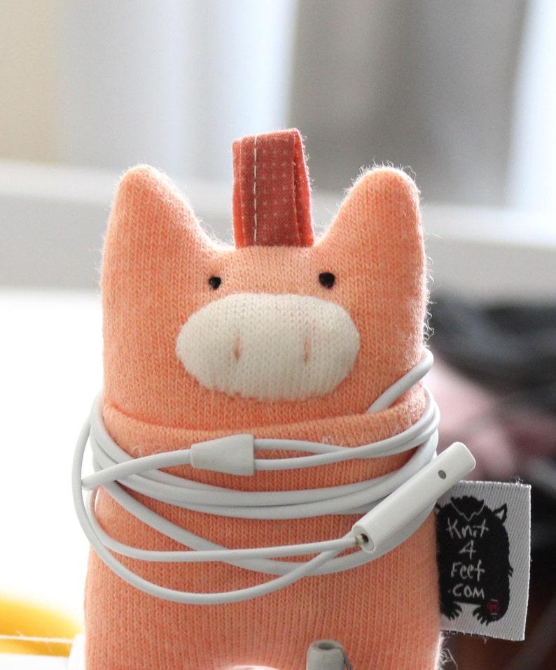 Soft Knit Earphone Case Pig Earphone Pouch Earphone image 0