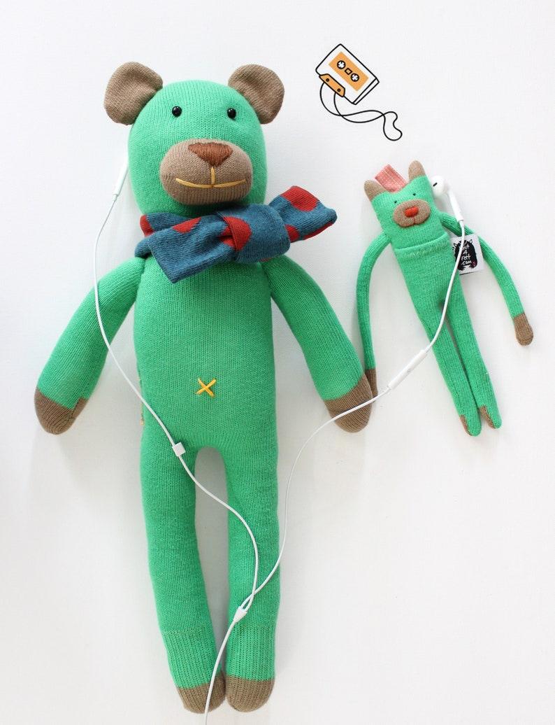 A Cute Handmade Bear doll. Animal toy. Polka Dot Scarf on it. image 0