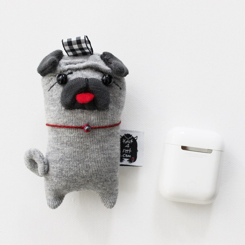 Pug Soft Knit Earbuds case and AirPods holder Pug Keychain image 0