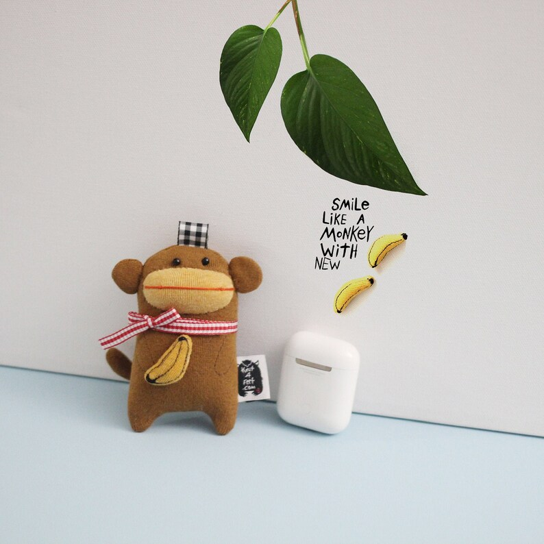 Banana Monkey Soft Knit AirPods Case Monkey Earbuds case image 0