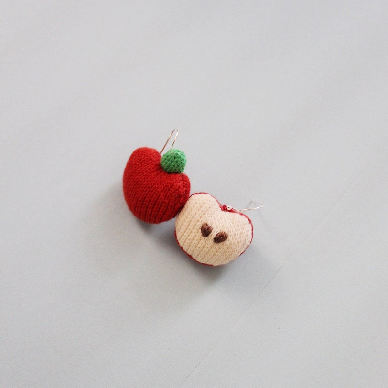 Soft Knit Apple Earrings Knit Apple Brooch Apple pins Apple Apple Earrings