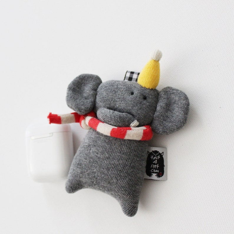 Elephant Soft Knit AirPods Case Elephant Earbuds case image 0