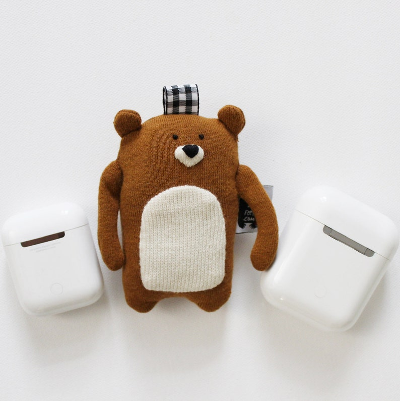 Bear Soft Knit AirPods Case Bear AirPods Holder Wireless image 0