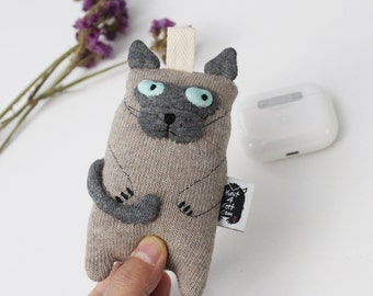Cranky Cat ID case, Cat Credit Card wallet, Cat Accessories, Cat Keychain, Cat soft Pocket, Cat  Lover Gift