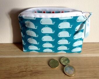 Mini pouch / wallet, whale-blue