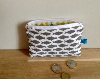 Mini pouch / wallet, fish - gray and white