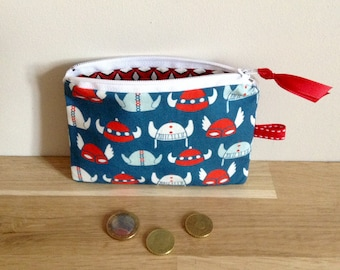 Mini pouch / coin purse, Vikings-blue and Red