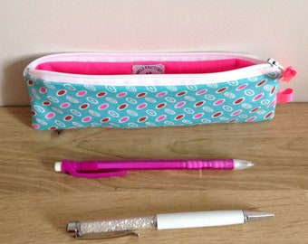 School Kit in fabric, egg-turquoise and pink