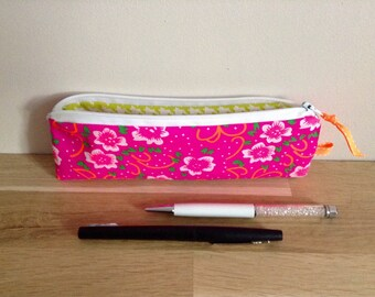 School Kit in fabric, flowers - neon pink and green