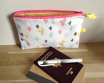 Pouch / bag Organizer, Cactus, white, pink and yellow