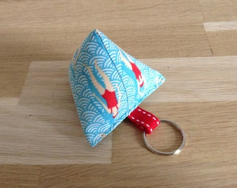 Key box, swimming pool, red and white fabric