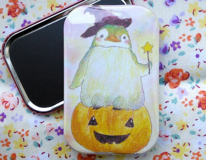 Witch Penguin  ハロウィンペンギンちゃん  Cute Fridge Magnet  44mm x image 0