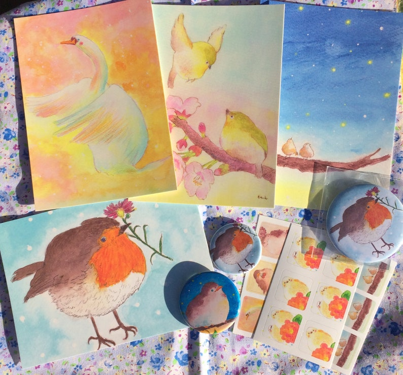 Bird Happy Bag  bird postcards 38mm bird badges 57mm bird image 0