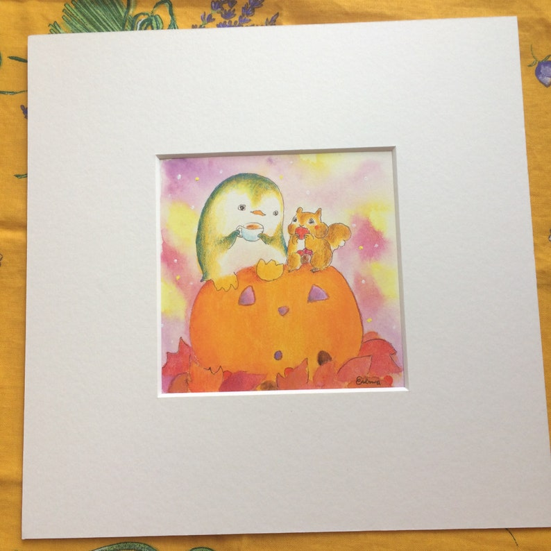 Autumn's Bounty  食欲の秋とペンギンさんとリスさん   squirrel and penguin image 0