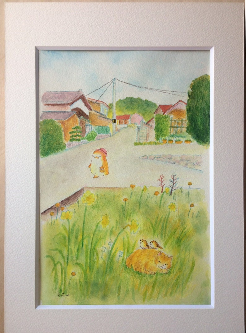 Going shopping  買い物に行くペンギンさん  Penguin town  Watercolour and image 0