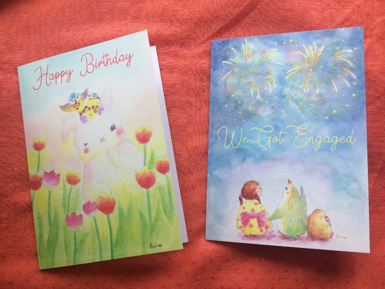 Cute Greeting cards  Happy Birthday Rabbit  We got engaged Both Cards